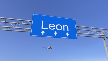 Commercial airplane arriving to Leon airport. Travelling to Mexico conceptual 3D rendering