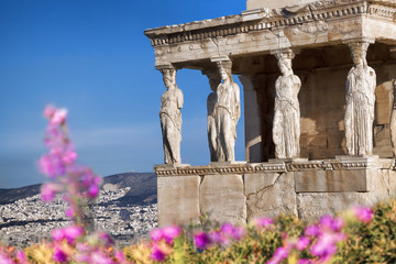 Spoed Fotobehang Athene Parthenon temple during spring time on the Athenian Acropolis, Greece