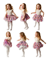 Cute little girl sing song and is dancing isolated on white bac