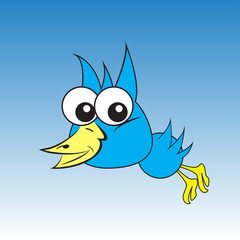 Art bird. Big eyes of the animal. Template for your work. Animation with birds. Vector illustration .