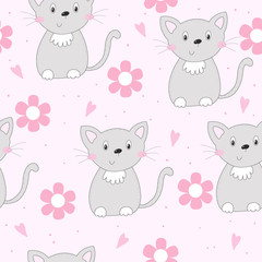 Cute cats colorful seamless pattern background