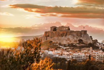 Recess Fitting Athens Acropolis with Parthenon temple against sunset in Athens, Greece