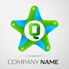 Letter Q vector logo symbol in the colorful star on grey background. Vector template for your design