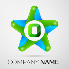Letter O vector logo symbol in the colorful star on grey background. Vector template for your design