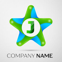 Letter J vector logo symbol in the colorful star on grey background. Vector template for your design