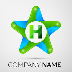 Letter H vector logo symbol in the colorful star on grey background. Vector template for your design