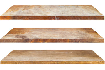 Wooden shelves isolated