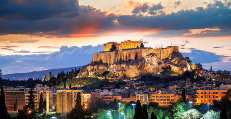 Fotorolgordijn Athene Acropolis with Parthenon temple against sunset in Athens, Greece