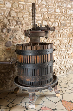 Old Wine Press. Traditional old Technique of Wine Making,