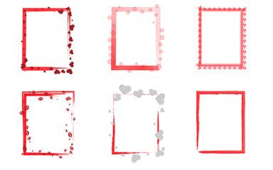 Rahmen Set rot Herzen Liebe