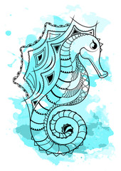 Line art hand drawing black sea horse isolated on white background with blue watercolor blots. Doodle style. Tatoo. Zenart. Zentangle.Coloring for adults.