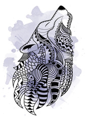 Line art hand drawing black wolf isolated on white background with watercolor blots. Doodle style. Tatoo. Zenart. Zentangle.Coloring for adults.