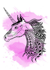 Line art hand drawing black unicorn isolated on white background with pink watercolor blots. Doodle style. Tatoo. Zenart. Zentangle.Coloring for adults.