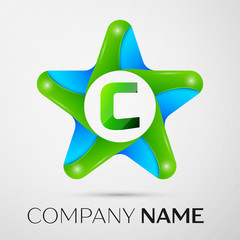 Letter C vector logo symbol in the colorful star on grey background. Vector template for your design