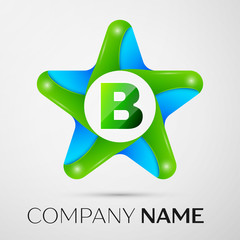 Letter B vector logo symbol in the colorful star on grey background. Vector template for your design