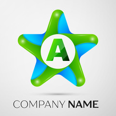 Letter A vector logo symbol in the colorful star on grey background. Vector template for your design