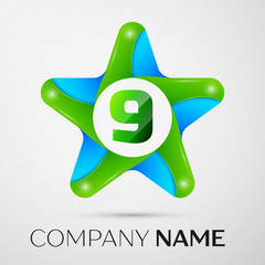 Number nine vector logo symbol in the colorful star on grey background. Vector template for your design