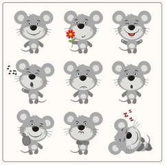 Funny little mouse set in different poses. Collection isolated mouse in cartoon style.