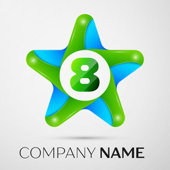 Number eight vector logo symbol in the colorful star on grey background. Vector template for your design