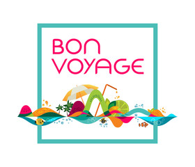 Bon Voyage - banner, vector template illustration