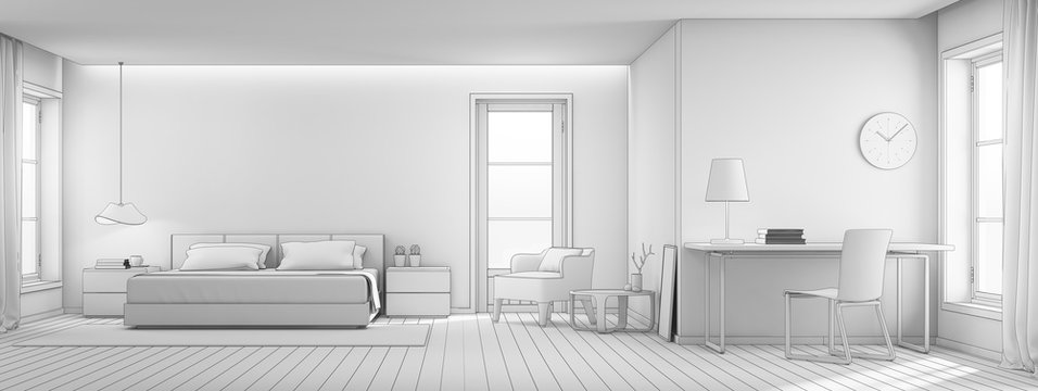 Sketch design of bedroom and living room in luxury house, Modern interior of home office - 3D rendering