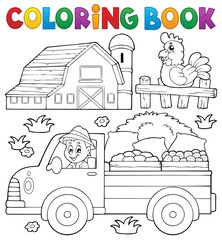 Coloring book with farm truck