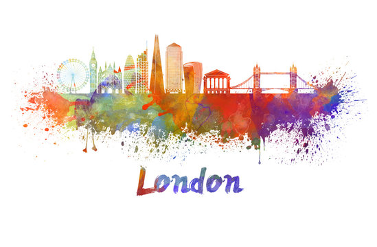 London V2 skyline in watercolor splatters with clipping path