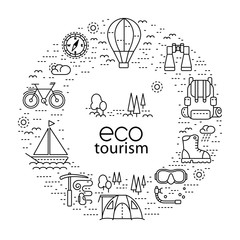 Eco tourism circle concept with modern line style icons