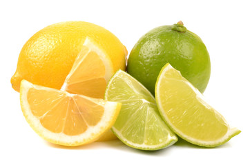 lime and lemon on white background
