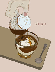Affogato Coffee, Hand drawn sketch line art, illustration Vector.