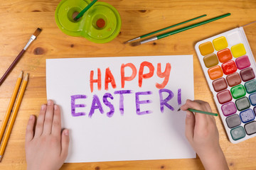 Kid draw greeting card for happy easter, empty space for text