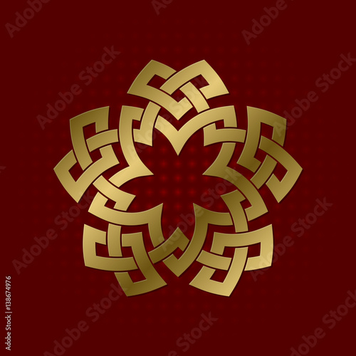 Sacred Geometric Symbol Of Five Pointed Plexus Golden Mandala Logo