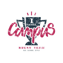 Rugby campus championship badge with shabby texture