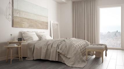 Classic bedroom, scandinavian modern style, minimalistic interior design