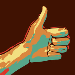 Cartoon drawing of a thumbs up. EPS10 vector illustration