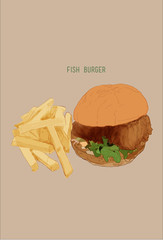 fish burger  and french fries, Hand draw illustration