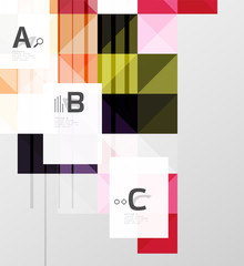 Square elements with infographics and options