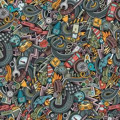 Cartoon cute doodles hand drawn Cars seamless pattern