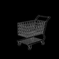 Empty shopping cart. Isolated on black background. Sketch illustration.