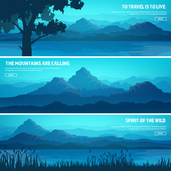 Mountains and forest. Wild nature landscape. Travel and adventure.Panorama. Into the woods. Horizon line.Trees,fog. Wildlife.Lake,river.