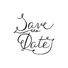 Save the date lettering on a white background.