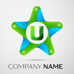 Letter U vector logo symbol in the colorful star on grey background. Vector template for your design
