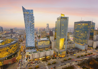 Warsaw city with modern skyscraper