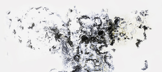 ragged plaster wall, black and white spots, similar to abstract picture, or a Rorschach blot background
