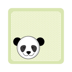 colorful greeting card with picture panda animal vector illustration