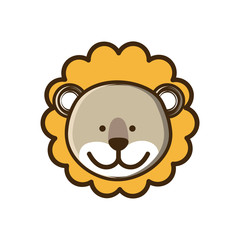 colorful picture face cute lion animal vector illustration