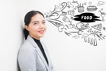 asian woman with freehand show thinking about  food.