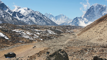 View to the south from the valley of khumbu glacier - Mt. Everest region, Nepal