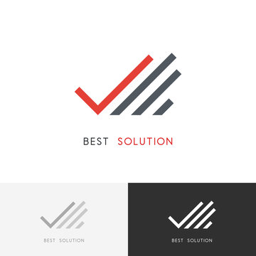 Best solution logo - hand with check mark or tick symbol. Business, success and partnership vector icon.