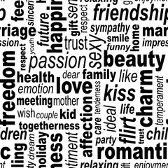 Words collage seamless background. Woman's important feelings, wishes and thoughts theme. Black and white colors. Vector illustration.